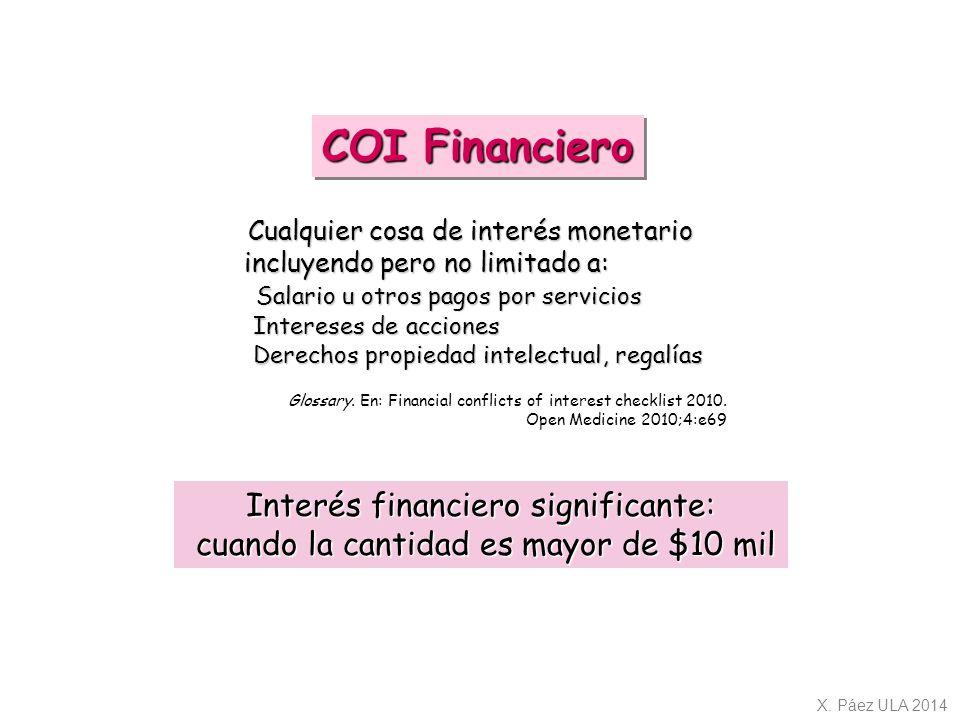 COI Financiero Interés financiero significante: