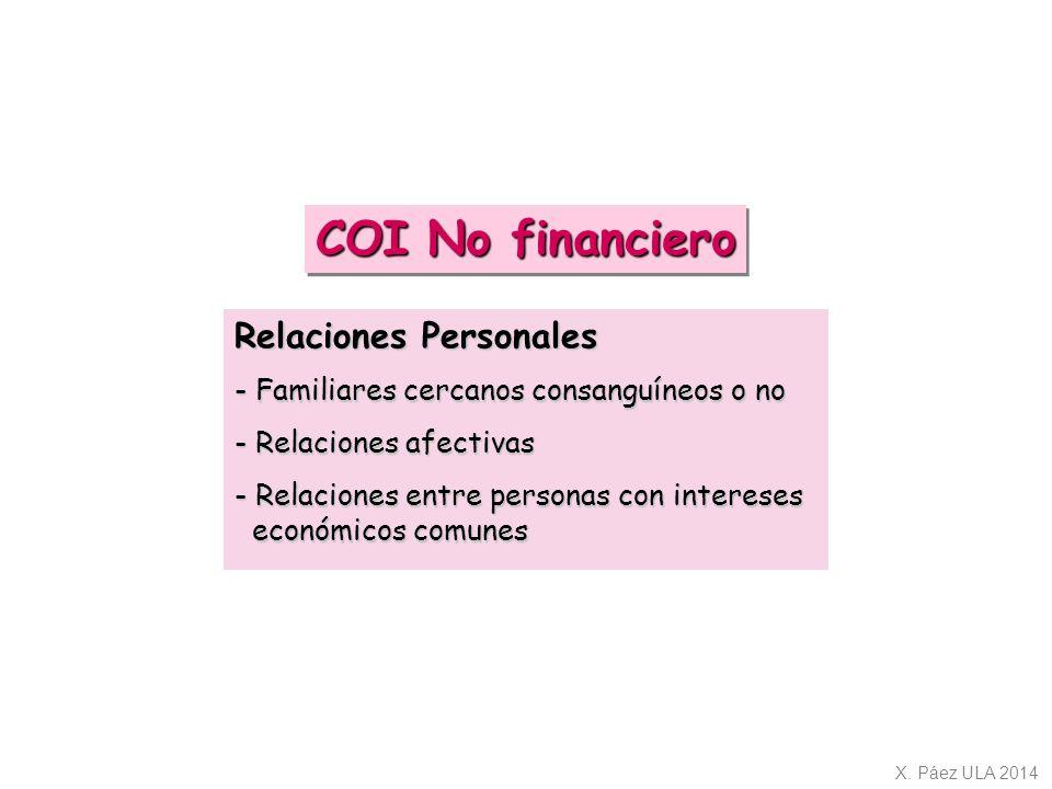 COI No financiero Relaciones Personales