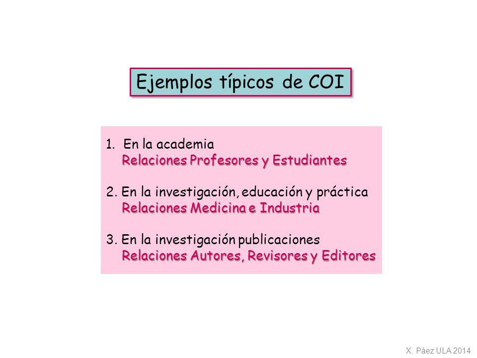 Ejemplos típicos de COI
