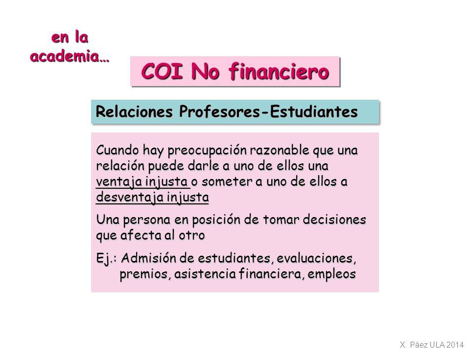 COI No financiero en la academia… Relaciones Profesores-Estudiantes
