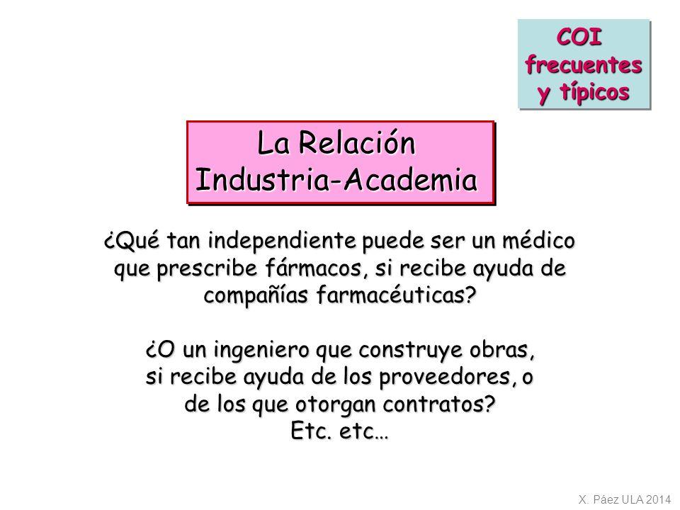 La Relación Industria-Academia COI frecuentes y típicos