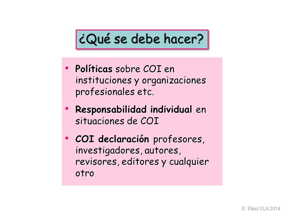 ¿Qué se debe hacer Políticas sobre COI en instituciones y organizaciones profesionales etc. Responsabilidad individual en situaciones de COI.