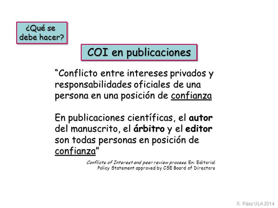 ¿Qué se debe hacer COI en publicaciones.