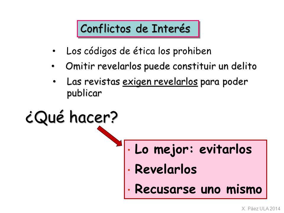 ¿Qué hacer Conflictos de Interés Los códigos de ética los prohiben