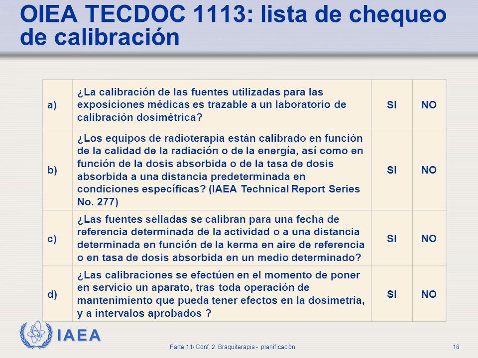 OIEA TECDOC 1113: lista de chequeo de calibración