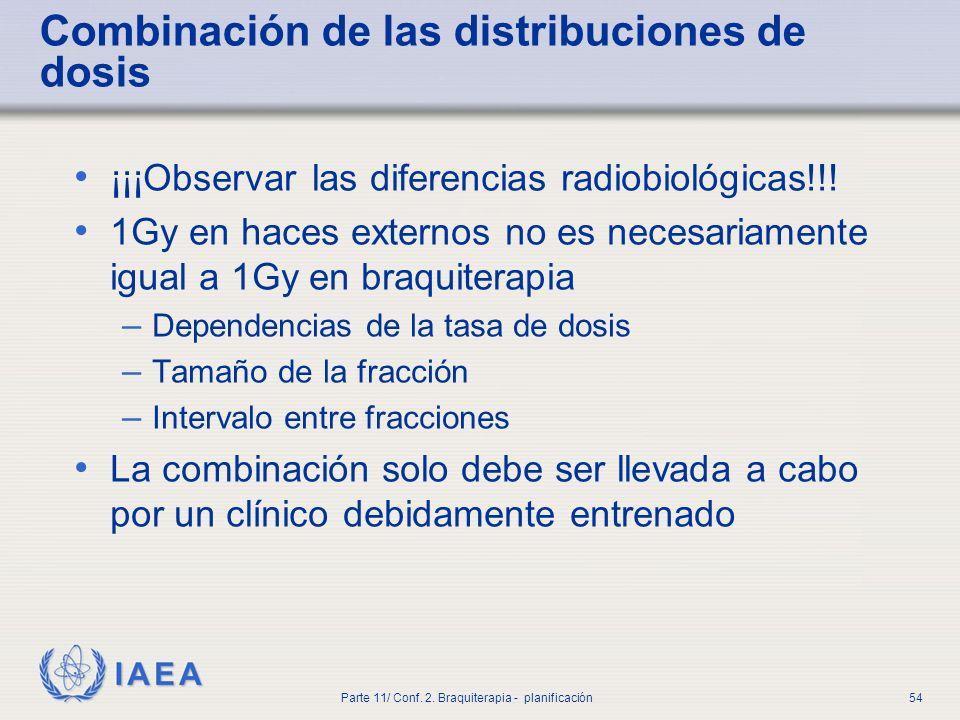 Combinación de las distribuciones de dosis