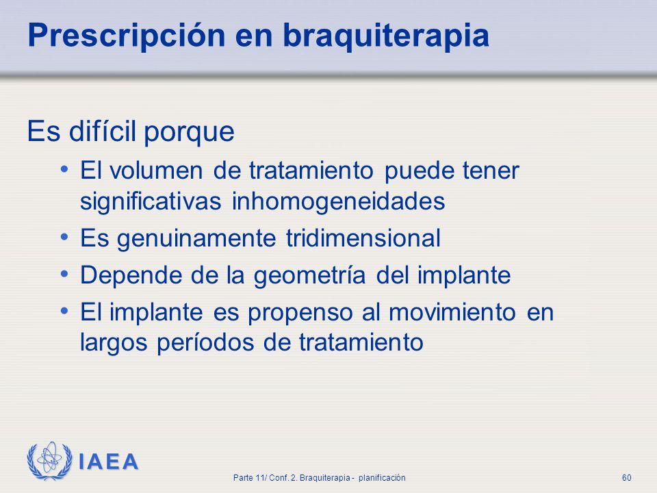 Prescripción en braquiterapia