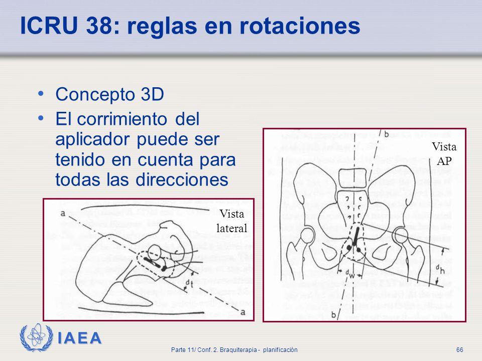 ICRU 38: reglas en rotaciones