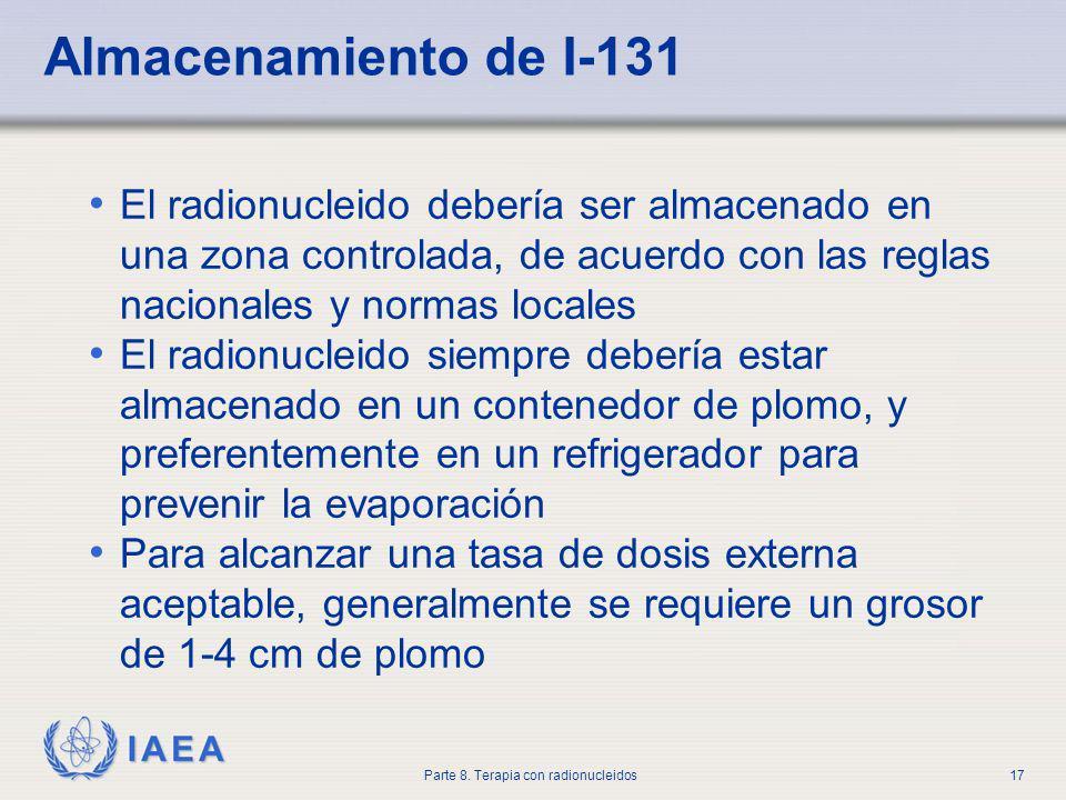Almacenamiento de I-131 El radionucleido debería ser almacenado en una zona controlada, de acuerdo con las reglas nacionales y normas locales.