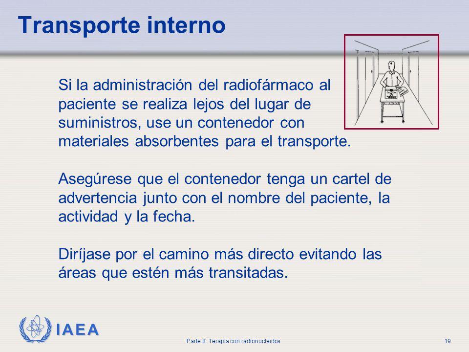Transporte interno Si la administración del radiofármaco al