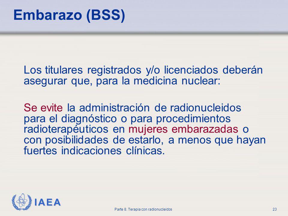 Embarazo (BSS) Los titulares registrados y/o licenciados deberán asegurar que, para la medicina nuclear: