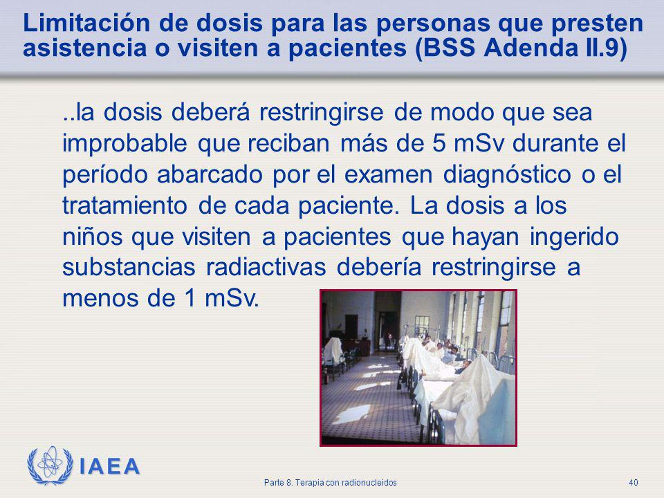 Limitación de dosis para las personas que presten asistencia o visiten a pacientes (BSS Adenda II.9)