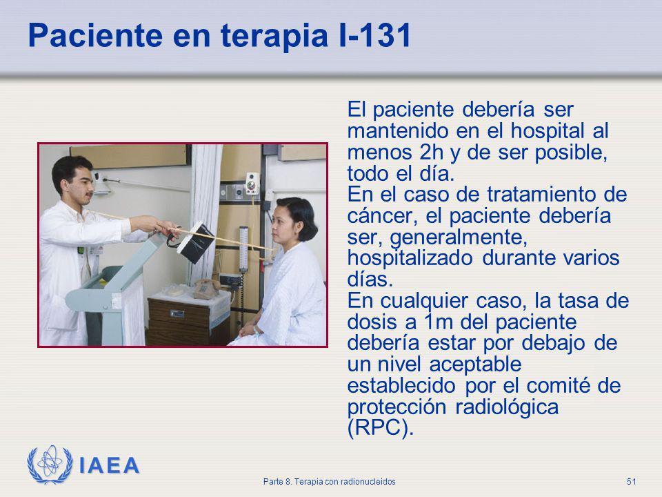 Paciente en terapia I-131 El paciente debería ser mantenido en el hospital al menos 2h y de ser posible, todo el día.