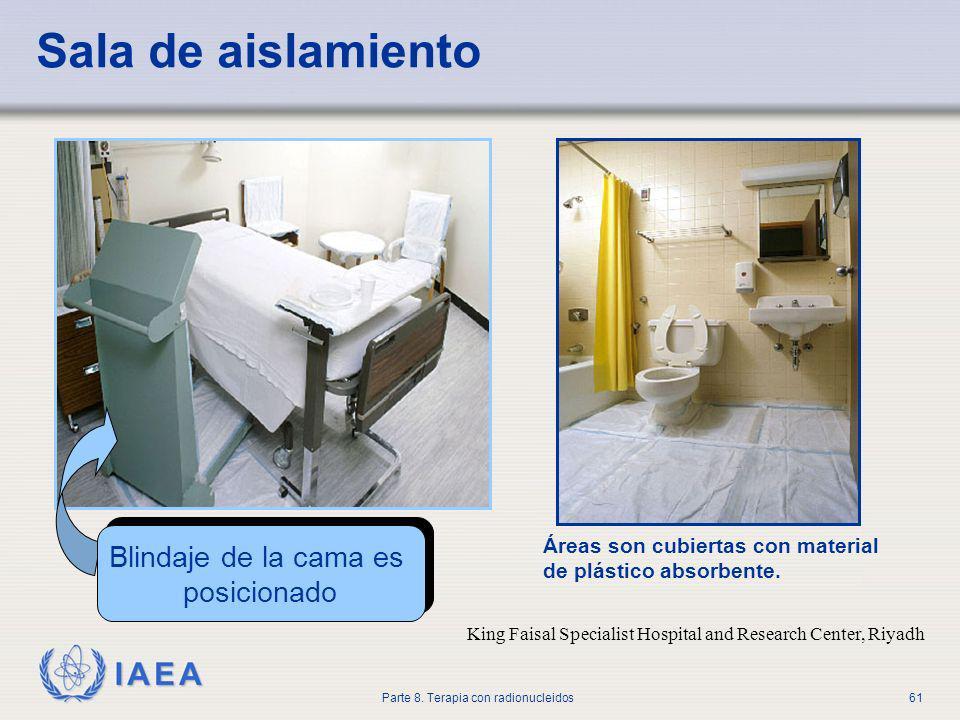 Sala de aislamiento Blindaje de la cama es posicionado