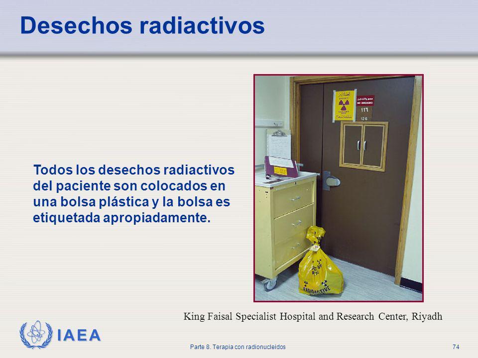 Desechos radiactivos Todos los desechos radiactivos del paciente son colocados en una bolsa plástica y la bolsa es etiquetada apropiadamente.