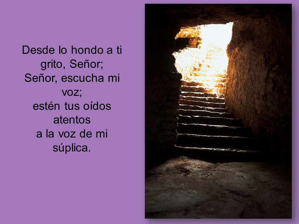 Desde lo hondo a ti grito, Señor; Señor, escucha mi voz; estén tus oídos atentos a la voz de mi súplica.