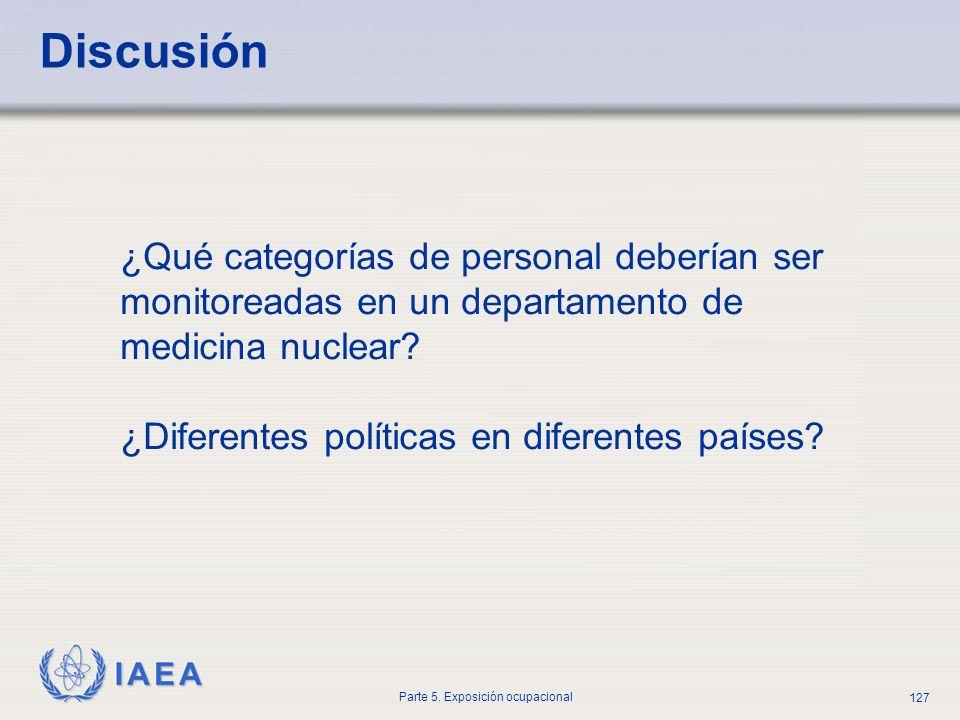 Discusión ¿Qué categorías de personal deberían ser monitoreadas en un departamento de medicina nuclear.