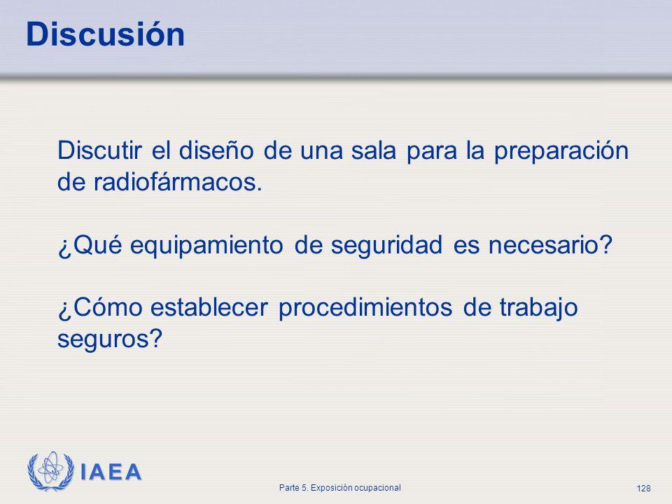 Discusión Discutir el diseño de una sala para la preparación de radiofármacos. ¿Qué equipamiento de seguridad es necesario