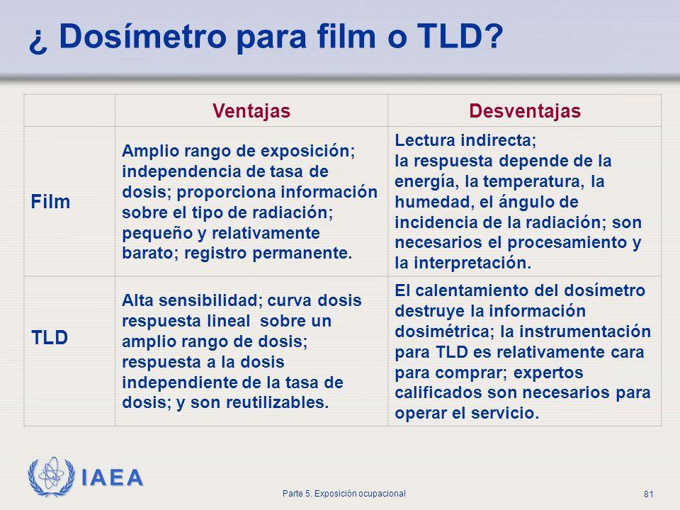 ¿ Dosímetro para film o TLD