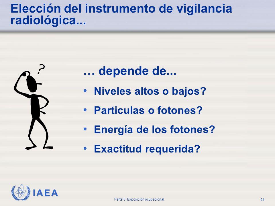 Elección del instrumento de vigilancia radiológica...