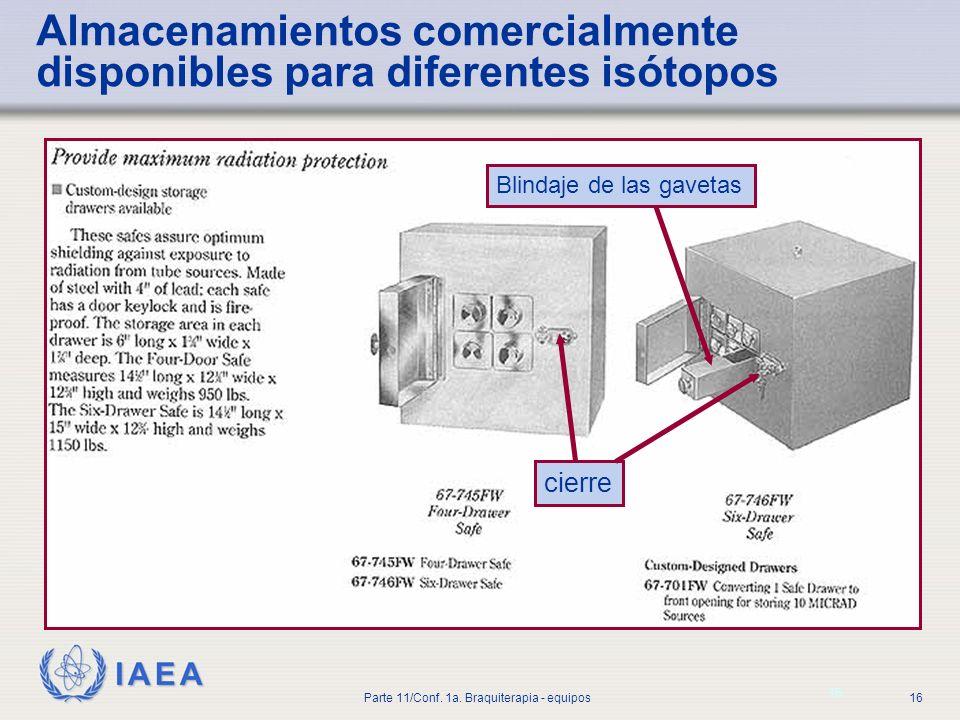 Almacenamientos comercialmente disponibles para diferentes isótopos