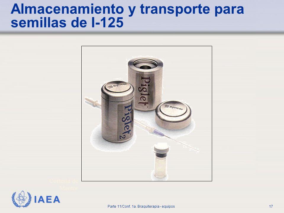 Almacenamiento y transporte para semillas de I-125