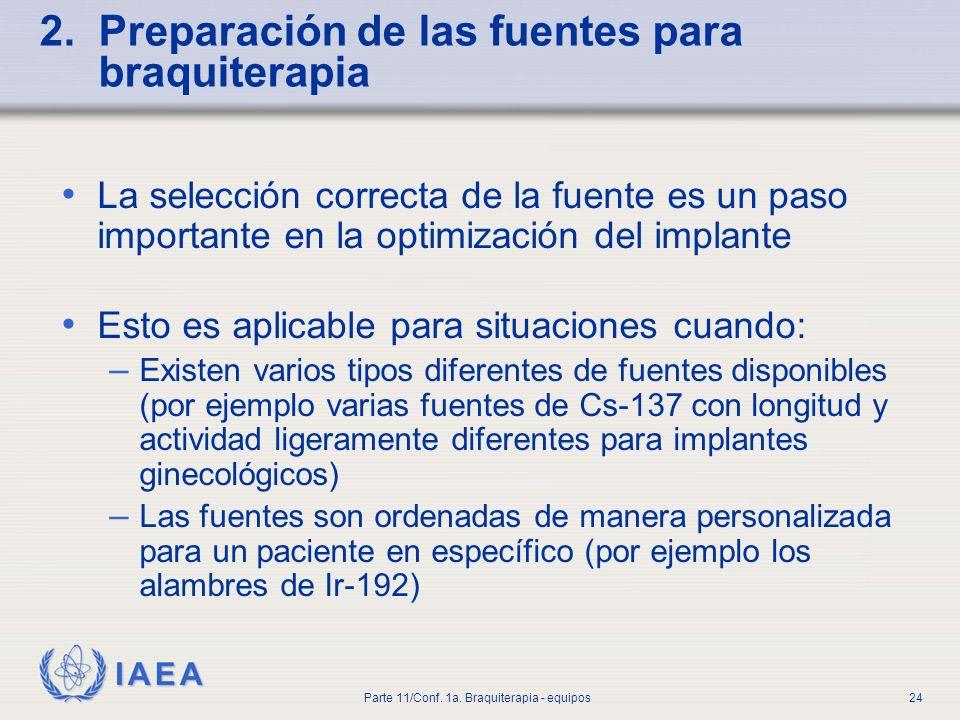2. Preparación de las fuentes para braquiterapia