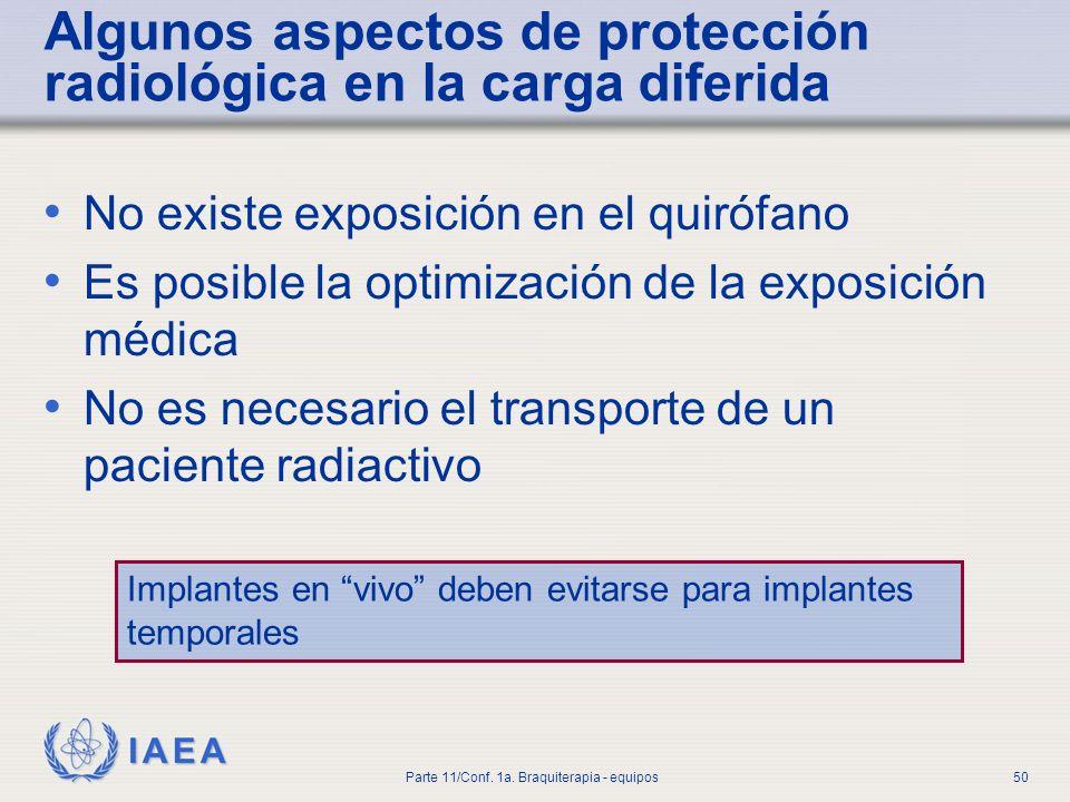 Algunos aspectos de protección radiológica en la carga diferida
