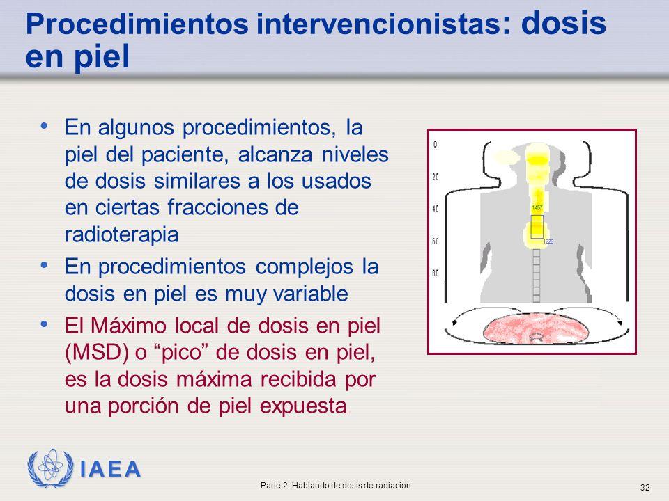 Procedimientos intervencionistas: dosis en piel