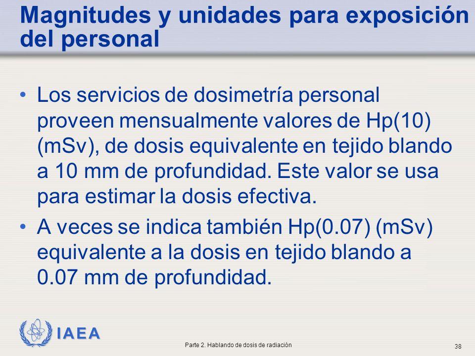 Magnitudes y unidades para exposición del personal