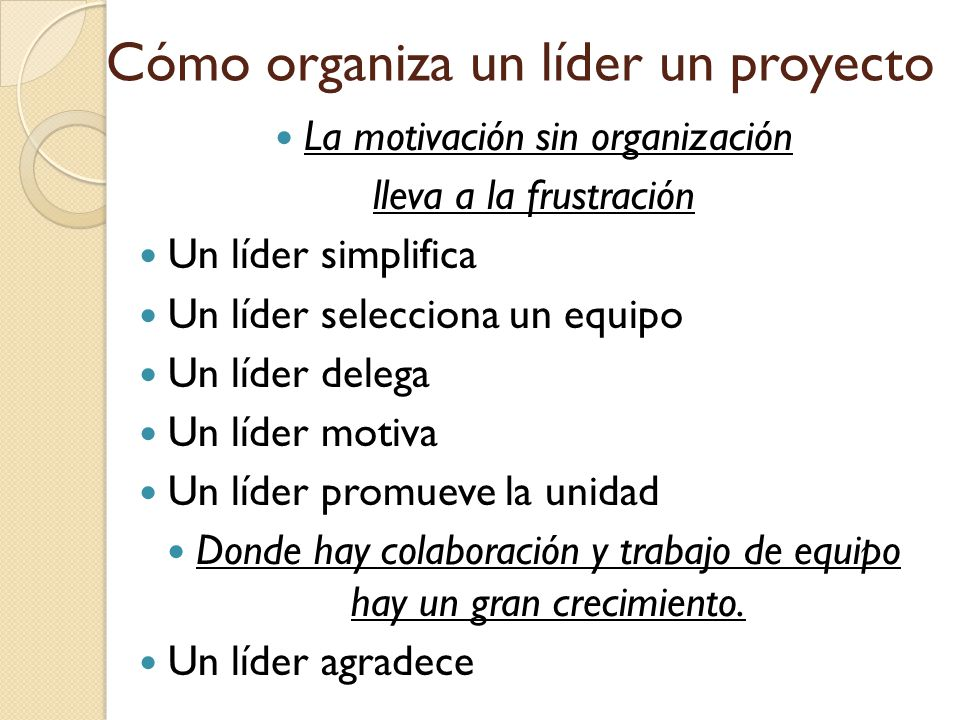Cómo organiza un líder un proyecto