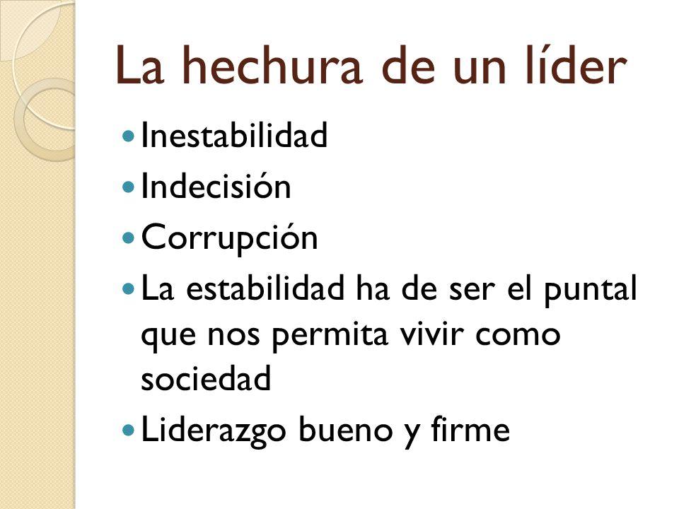 La hechura de un líder Inestabilidad Indecisión Corrupción