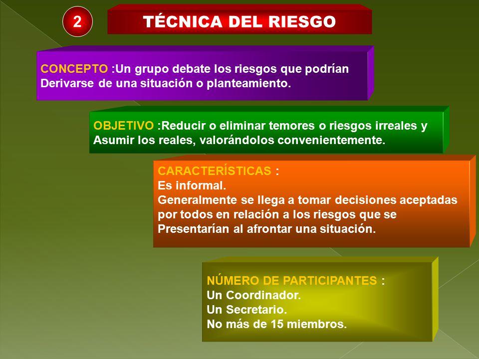 2 TÉCNICA DEL RIESGO CONCEPTO :Un grupo debate los riesgos que podrían