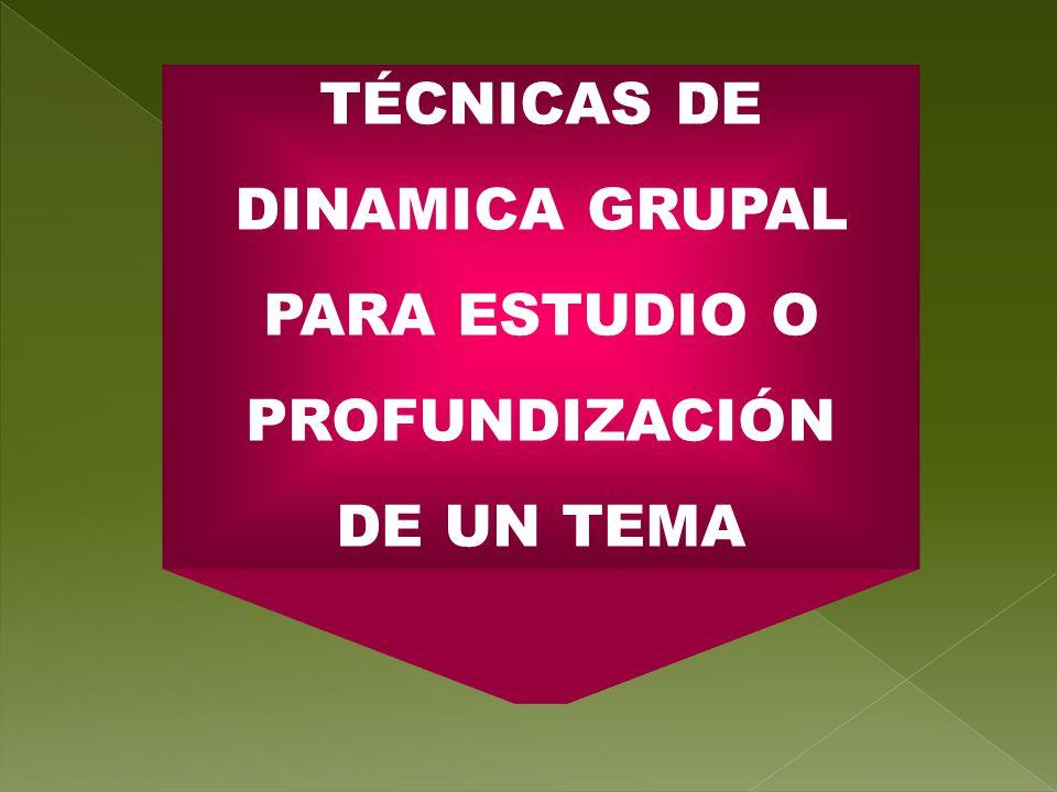 TÉCNICAS DE DINAMICA GRUPAL PARA ESTUDIO O PROFUNDIZACIÓN DE UN TEMA