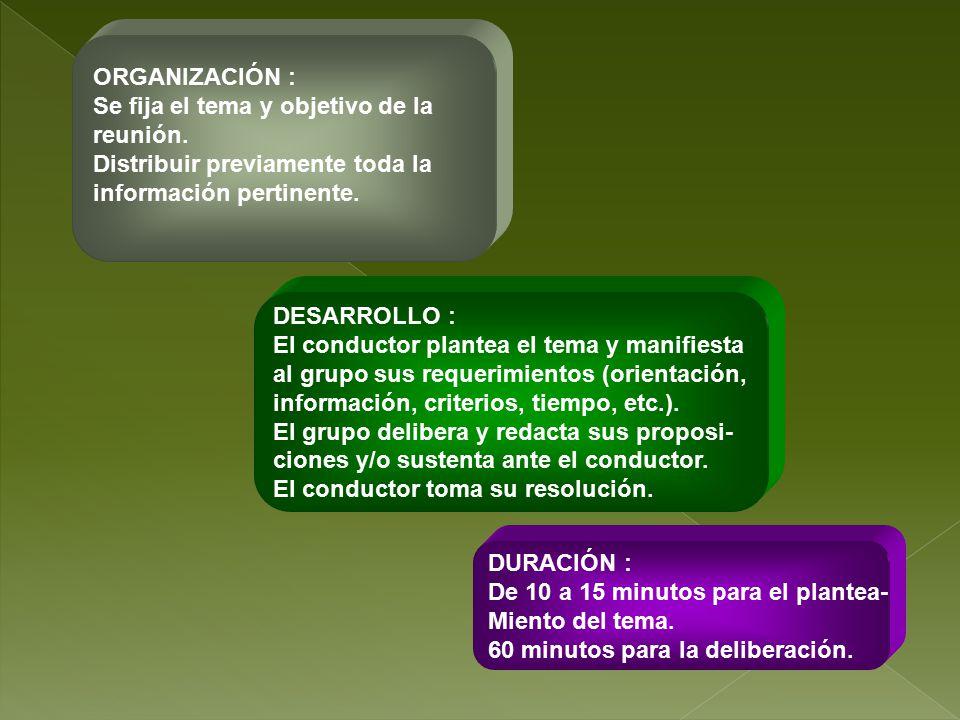 ORGANIZACIÓN : Se fija el tema y objetivo de la. reunión. Distribuir previamente toda la. información pertinente.
