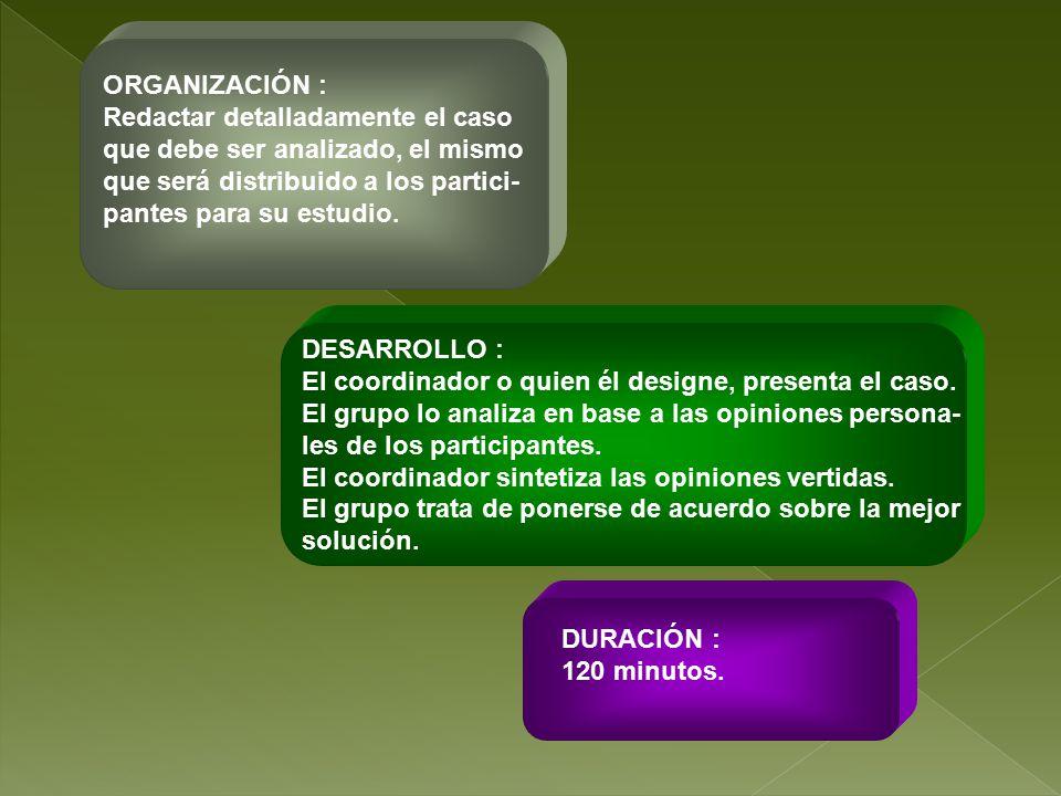 ORGANIZACIÓN : Redactar detalladamente el caso. que debe ser analizado, el mismo. que será distribuido a los partici-