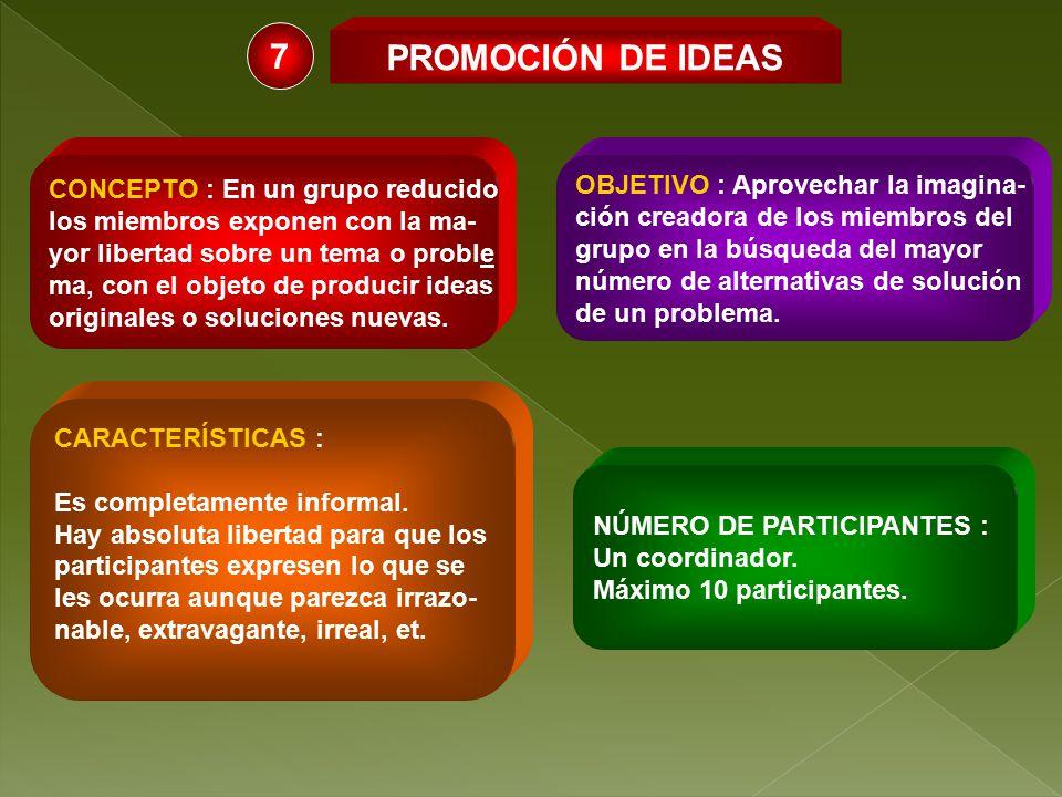 7 PROMOCIÓN DE IDEAS CONCEPTO : En un grupo reducido
