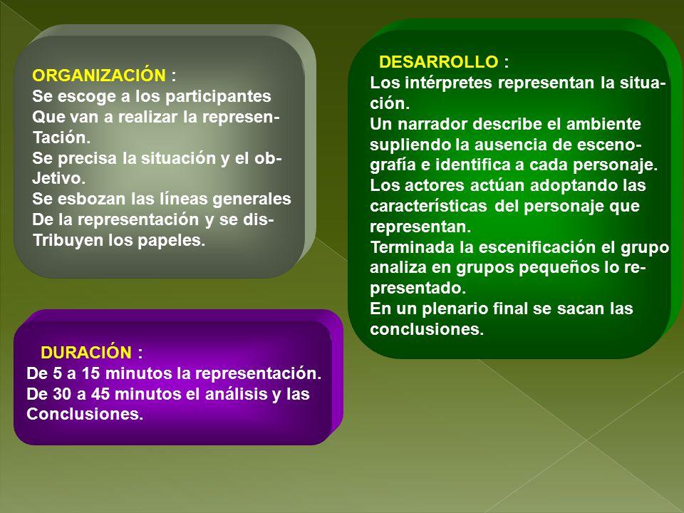 DESARROLLO : Los intérpretes representan la situa- ción. Un narrador describe el ambiente. supliendo la ausencia de esceno-