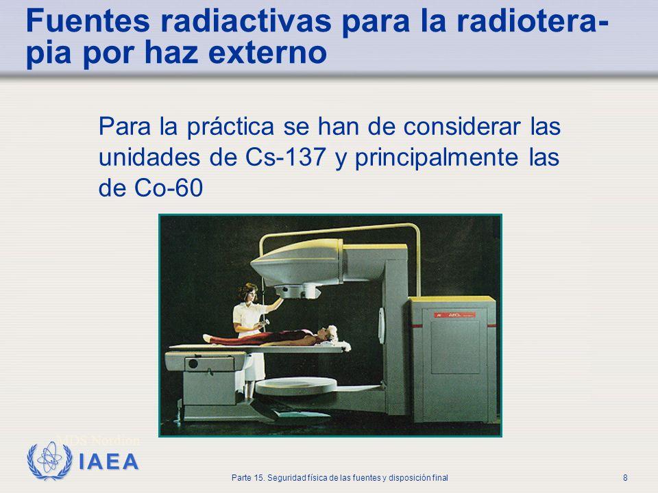 Fuentes radiactivas para la radiotera-pia por haz externo
