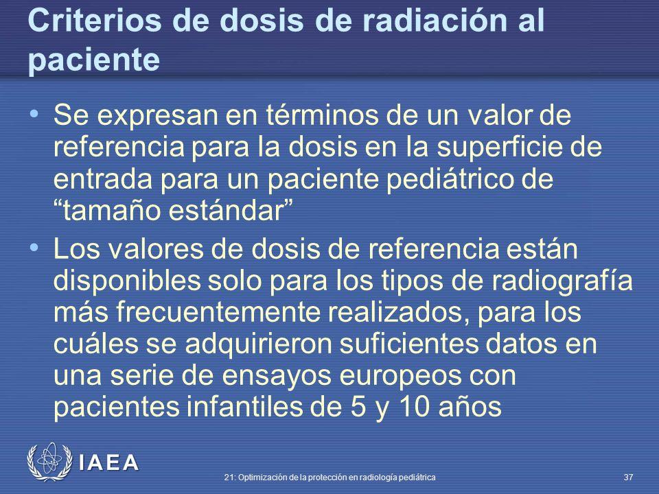 Criterios de dosis de radiación al paciente