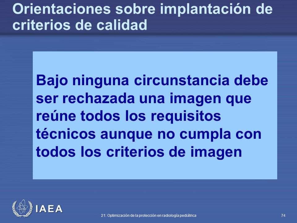 Orientaciones sobre implantación de criterios de calidad