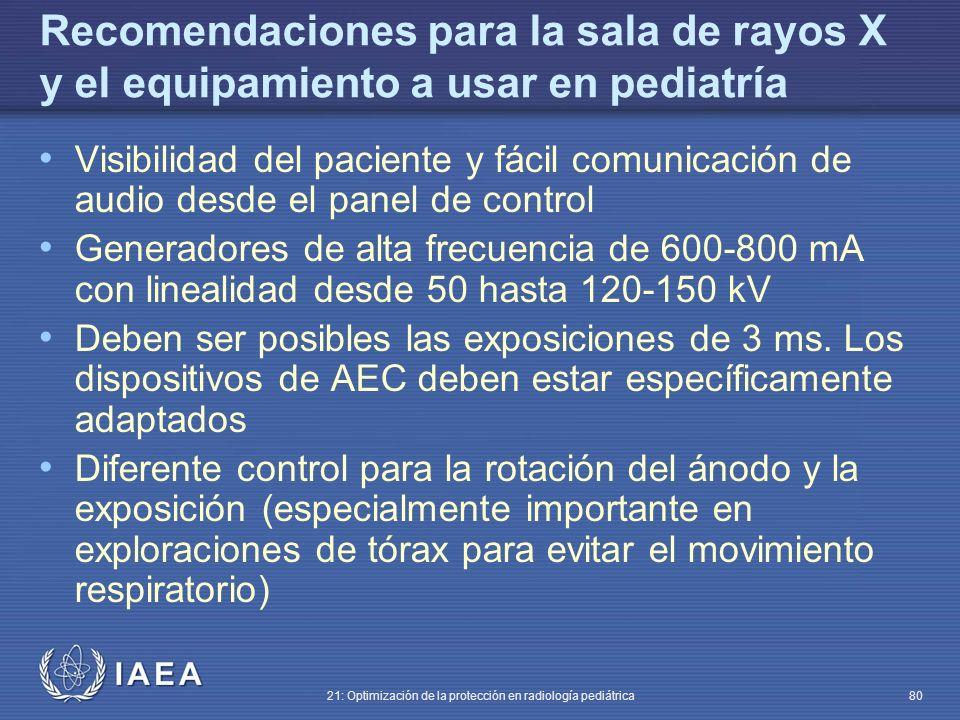 Recomendaciones para la sala de rayos X y el equipamiento a usar en pediatría
