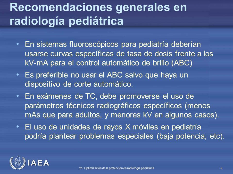 Recomendaciones generales en radiología pediátrica