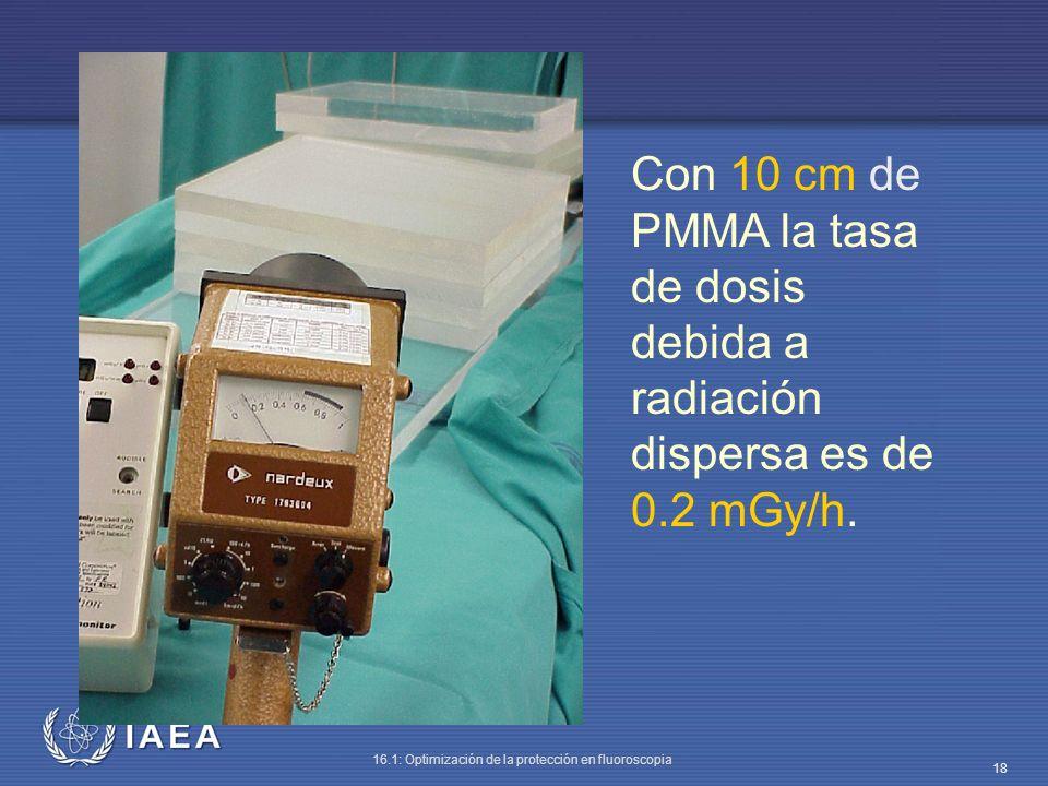 Con 10 cm de PMMA la tasa de dosis debida a radiación dispersa es de 0