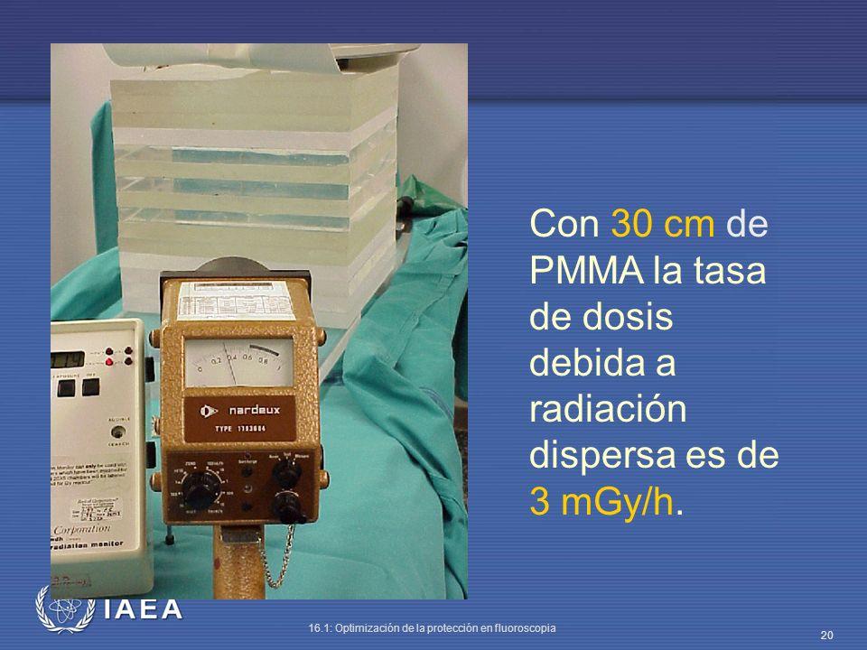 Con 30 cm de PMMA la tasa de dosis debida a radiación dispersa es de 3 mGy/h.