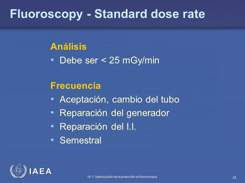 Fluoroscopy - Standard dose rate