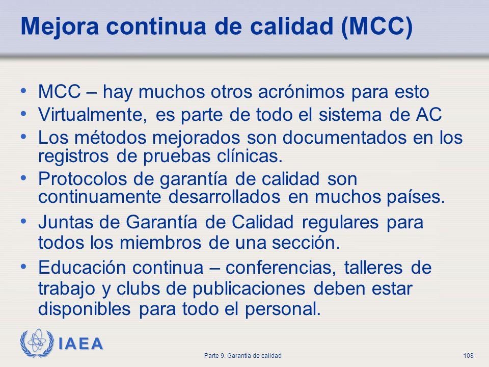 Mejora continua de calidad (MCC)