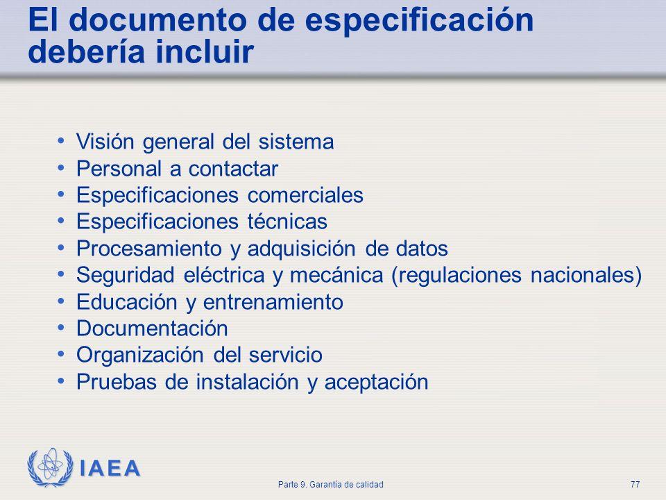 El documento de especificación debería incluir