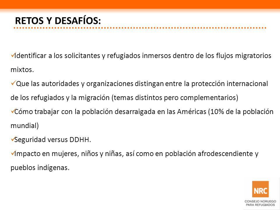RETOS Y DESAFÍOS:Identificar a los solicitantes y refugiados inmersos dentro de los flujos migratorios mixtos.