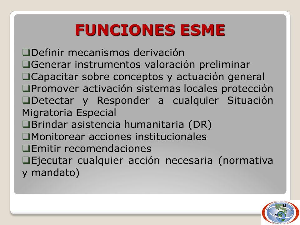 FUNCIONES ESME Definir mecanismos derivación